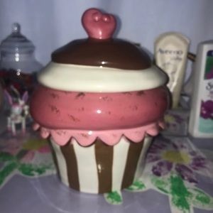 Valentine's Day cupcake cookie jar